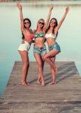 Девушки на море Стоковые Изображения