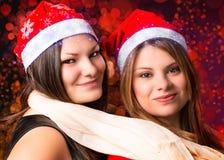 Девушки на рождестве Стоковая Фотография