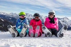 Девушки на снежке Стоковое Фото