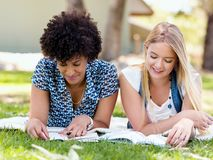 2 девушки отдыхают в парке с книгами Стоковая Фотография
