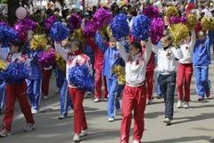 Девушки от школы спорт Pyatigorsk (России) на параде в hon Стоковые Изображения RF