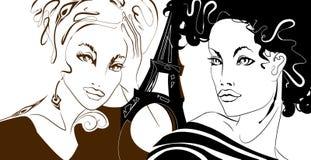 девушки парижские иллюстрация штока
