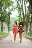 Девушки пар жизнерадостные в улице Стоковое Фото
