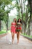 Девушки пар жизнерадостные в улице Стоковое Изображение RF