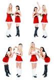 девушки питья рождества champange Стоковые Изображения RF