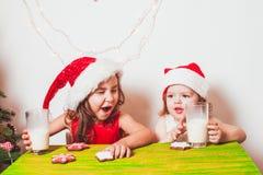 2 девушки приближают к рождественской елке Стоковые Фото
