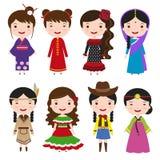 Девушки платья в традиционных костюмах иллюстрация штока