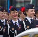 Девушки русского военного парада Парадная форма одежды министерства inte Стоковая Фотография RF