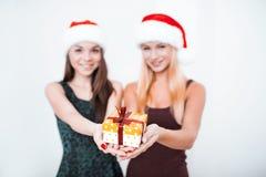 Девушки Санты с покрашенным подарком Стоковые Фотографии RF