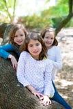 Девушки сестры друга отдыхая на природе ствола дерева Стоковые Изображения RF