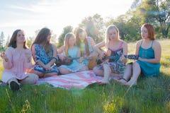 Девушки сидя совместно в травянистом поле поя и играя музыку Стоковая Фотография