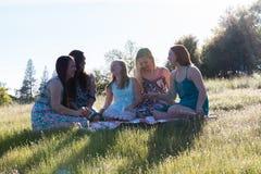 Девушки сидя совместно в травянистом поле с солнечным светом наверху Стоковое Фото