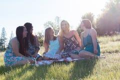 Девушки сидя совместно в травянистом поле с солнечным светом наверху Стоковое фото RF