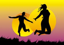 девушки скачут Стоковое Изображение