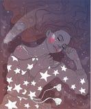 Девушки сон сладостно иллюстрация вектора