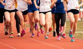 Девушки средней школы участвуя в гонке на следе Стоковая Фотография