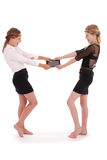 Девушки срывая ПК таблетки Стоковая Фотография RF