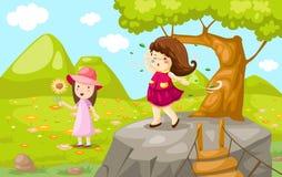 Девушки с естественным лужком Стоковое Изображение
