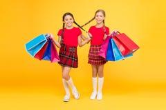 Девушки с хозяйственными сумками r Покупки и приобретение : Скидка продажи Подарки стоковое изображение