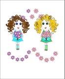 Девушки с цветками иллюстрация штока