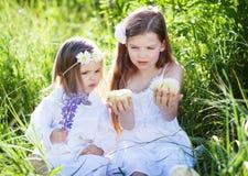 Девушки с цыплятами стоковое фото