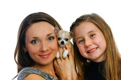 Девушки с doggie Стоковое Фото