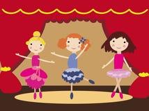 Девушки танцев в театре балета иллюстрация штока