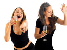 Девушки танцуя с шампанским Стоковое фото RF