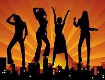 девушки танцы города иллюстрация вектора