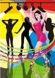 девушки танцы сексуальные Иллюстрация вектора