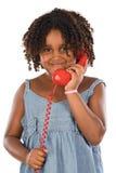 девушки телефона красный цвет довольно Стоковые Фото