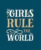 Девушки управляют миром Смешная цитата Иллюстрация нарисованная рукой винтажная Стоковые Фото