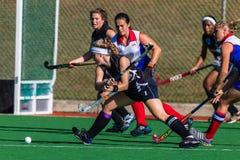 Девушки хоккея ударяя попытку цели шарика Стоковое Изображение