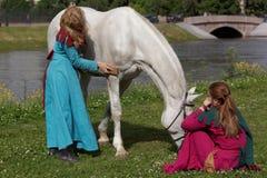 Девушки чистя лошадь щеткой Стоковые Фотографии RF