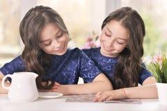 Девушки читая кассету Стоковые Изображения