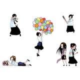 Девушки школы Таиланда Стоковое Изображение