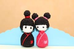 Девушки японца вязания крючком Стоковое Изображение RF