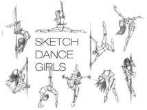 Девушки ance эскиза Установите силуэты танцев женщины, линии искусства Эскиз женщины танцев handdrawn иллюстрация штока