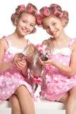 Девушки Tweenie в curlers волос с собакой Стоковые Изображения RF