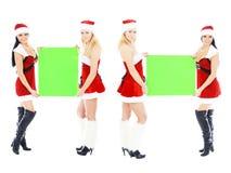 девушок рождества знамени удерживание пустых зеленое Стоковая Фотография