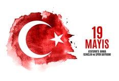 девятнадцатое может чествование Ataturk, молодость и резвится Turkish дня говорит: anma ` u Ataturk 19 mayis, bayrami spor ve gen Стоковая Фотография