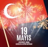 девятнадцатое может чествование Ataturk, молодость и резвится Turkish дня говорит: anma ` u Ataturk 19 mayis, bayrami spor ve gen Стоковая Фотография RF