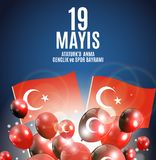девятнадцатое может чествование Ataturk, молодость и резвится Turkish дня говорит: anma ` u Ataturk 19 mayis, bayrami spor ve gen Стоковые Изображения