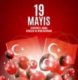 девятнадцатое может чествование Ataturk, молодость и резвится Turkish дня говорит: anma ` u Ataturk 19 mayis, bayrami spor ve gen Стоковые Изображения RF