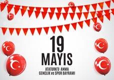 девятнадцатое может чествование Ataturk, молодость и резвится Turkish дня говорит: anma ` u Ataturk 19 mayis, bayrami spor ve gen Стоковое Фото