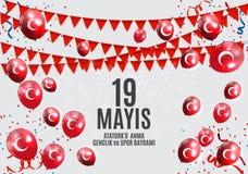 девятнадцатое может чествование Ataturk, молодость и резвится Turkish дня говорит: anma ` u Ataturk 19 mayis, bayrami spor ve gen Стоковое фото RF