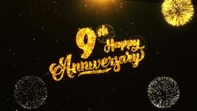 девятое счастливое приветствие текста годовщины, желания, торжество, предпосылка приглашения бесплатная иллюстрация
