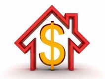 дег дома доллара белизна символа золотистых красная Стоковые Фото