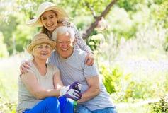 Деды с взрослой внучкой Стоковая Фотография RF