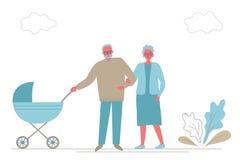 Дед и бабушка с младенцем в прогулочной коляске Деды с голубым экипажом на прогулке иллюстрация вектора